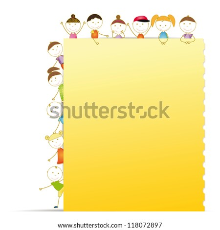 Happy kids with sheet of paper with notebook - stock vector
