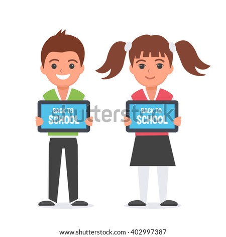 Happy kids with tablet computers in hands. Kids showing table screen. Vector illustration. - stock vector