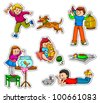 happy kids with their pets - stock vector