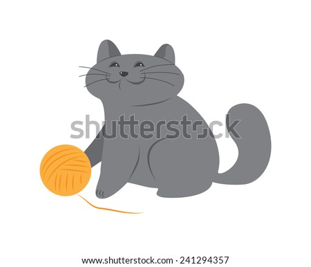 happy kitten with a ball of wool - stock vector