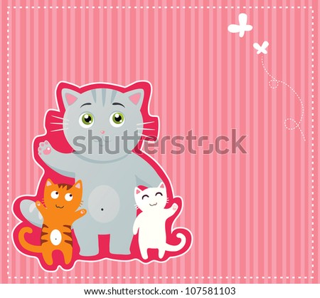 Happy kitties background - stock vector