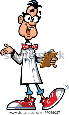 Happy Laboratory Professor Scientist With Glasses, Bow Tie and Sneakers Holding Clipboard - stock vector