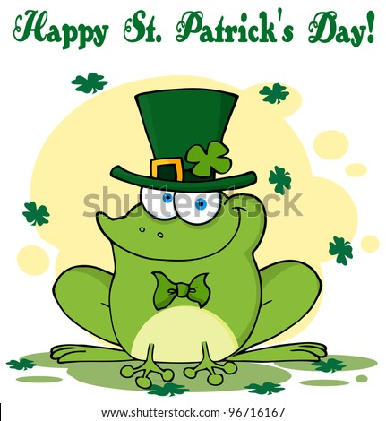 Happy Leprechaun Frog Greeting Card. Jpeg version also available in gallery. - stock vector