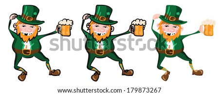 happy leprechaun, vector illustration, simple gradient, three versions with different contours - stock vector