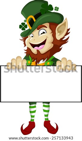 Happy Leprechaun with blank sign - stock vector