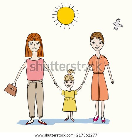 happy lesbian couple with child, vector eps 10 - stock vector