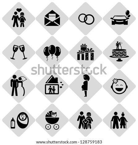 Happy life icons - stock vector