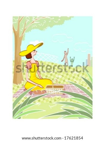 Happy Life Style - lovely young female sitting on pink mat with lunch box in natural park on summer holiday on a background of beautiful blue sky and green grass : vector illustration - stock vector