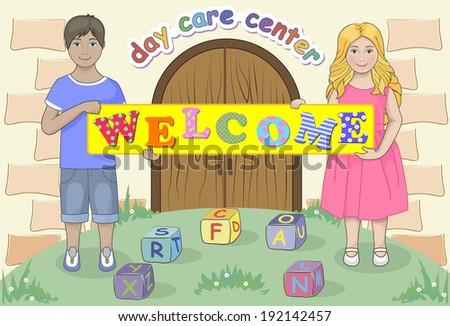 happy little boy and girl in kindergarten - stock vector