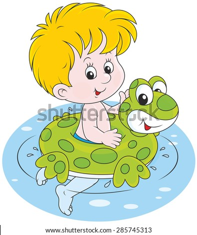 Happy little boy smiling and swimming with a rubber ring - stock vector
