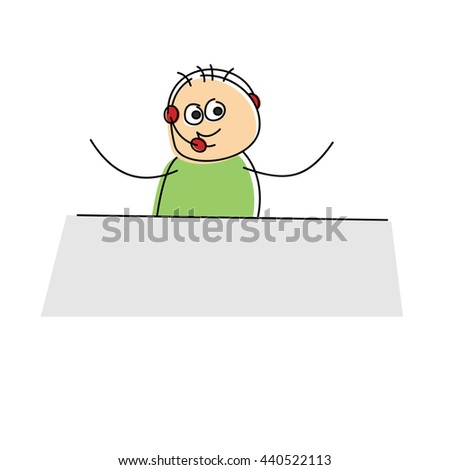 Happy little cartoon business figure wearing a headset and sitting at a table waving its arms, vector doodle sketch on white - stock vector