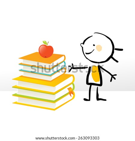Happy little girl, with pile of books. Happy kids education doodle style vector illustration. - stock vector