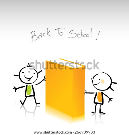 Happy little kids, holding a book. Education, back to school concept vector illustration, sketchy doodle style drawing.  - stock vector