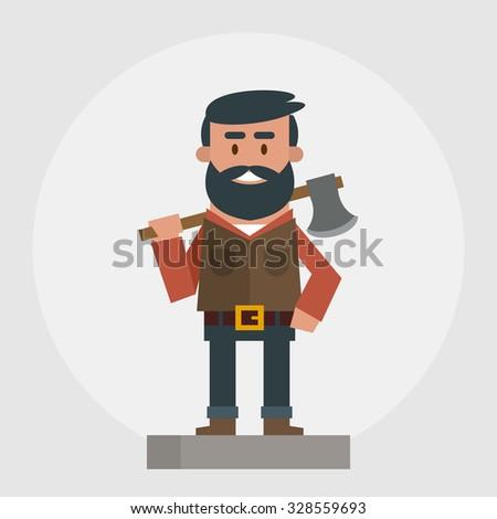 Happy lumberer. Vector illustration - stock vector