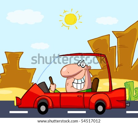 Happy Man Drives Sports Car In Front Western Landscape - stock vector