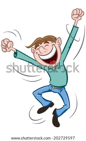 Happy Man jumping up - stock vector
