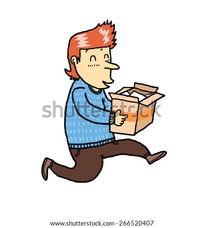 happy man receiving package from online store - stock vector