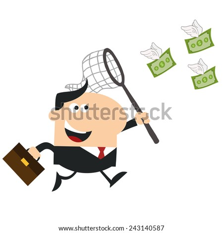 Happy Manager Chasing Flying Money With A Net.Flat Design Style Vector Illustration Isolated On White - stock vector