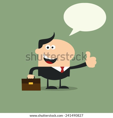 Happy Manager Giving Feedback In Modern Flat Design Vector Illustration With Speech Bubble - stock vector