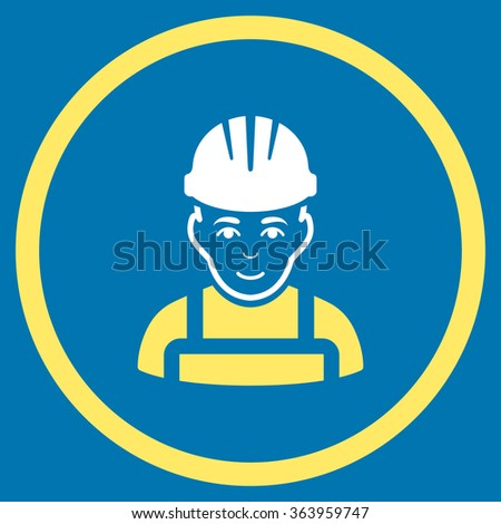 Happy Mechanic vector icon. Style is bicolor flat circled symbol, yellow and white colors, rounded angles, blue background. - stock vector