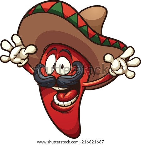 Happy Mexican chili pepper. Vector clip art illustration with simple gradients. All in a single layer.  - stock vector