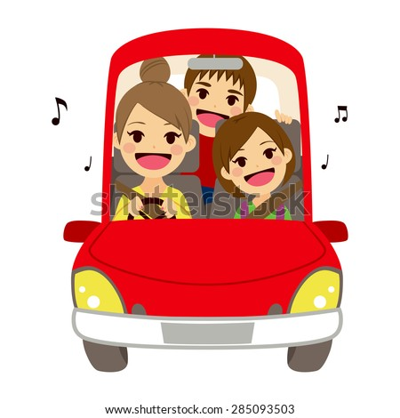 Happy mom and kids singing on car driving to school - stock vector