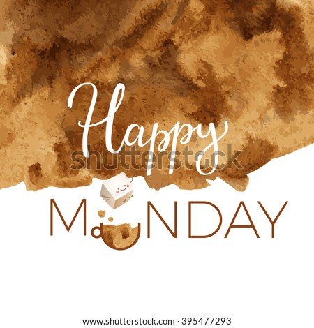 Happy Monday Typography Motivation Card - stock vector