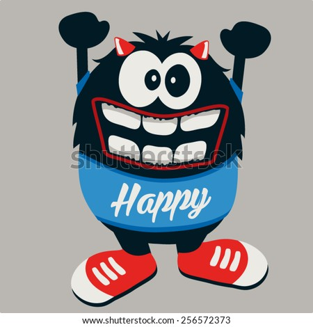 happy monster - stock vector