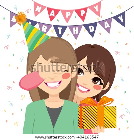 Happy mother covering her daughter eyes and offering a surprise birthday gift at anniversary party - stock vector