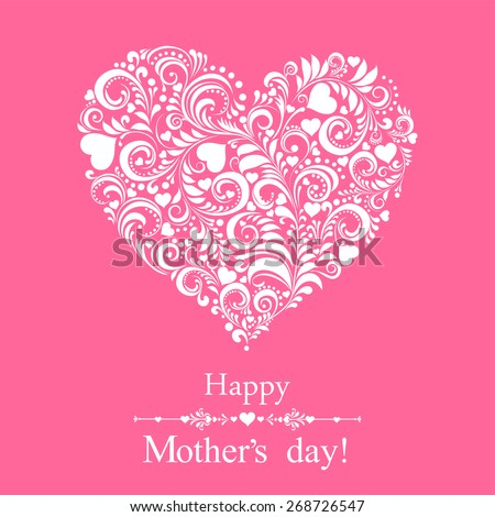 Happy mother day!  Greeting card. Celebration background with heart and place for your text. Vector illustration  - stock vector