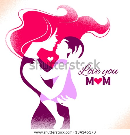 Happy Mother's Day. Card with beautiful silhouette of mother and baby - stock vector