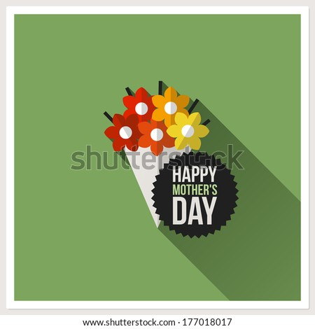 Happy Mother's Day. Flat design greeting card with colorful bouquet - stock vector