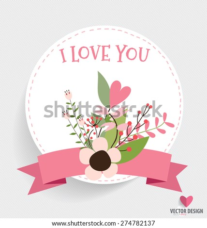 Happy Mother's Day, Floral bouquets with ribbon and heart, vector illustration. - stock vector