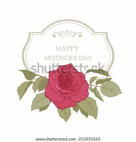 Happy Mother's Day floral greeting card with roses. Perfect for invitations of the wedding, birthday, Valentine's Day, Mother's Day. - stock vector