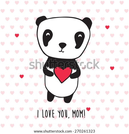 Happy Mother's Day. Greeting card for Mother's Day, Valentine's Day, birthday with panda and hearts. Hand drawn panda for your design. Doodles, sketch. Vector illustration - stock vector