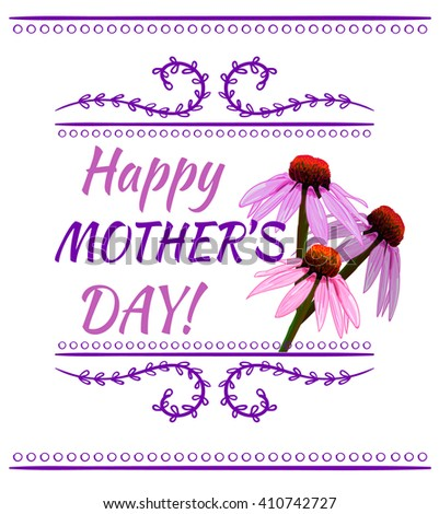 Happy mother's day inscription, Hand drawn VECTOR design element with pink flowers. - stock vector