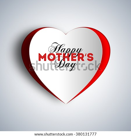 Happy Mother's day text design with papercut hearth - stock vector