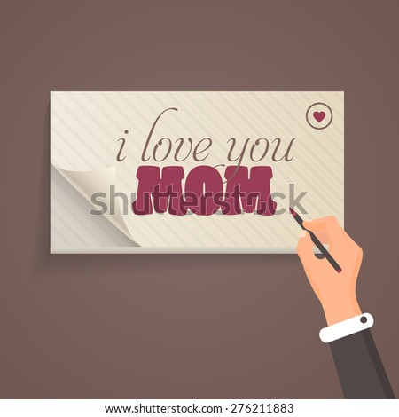 """Happy Mother's Day Theme """"i love you Mom"""" Lettering, Flat Style Pencil and Notebook Write Design Template - stock vector"""