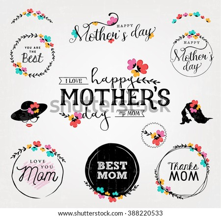 Happy Mother's Day Typographical Vintage Badges with Colorful Flowers - stock vector