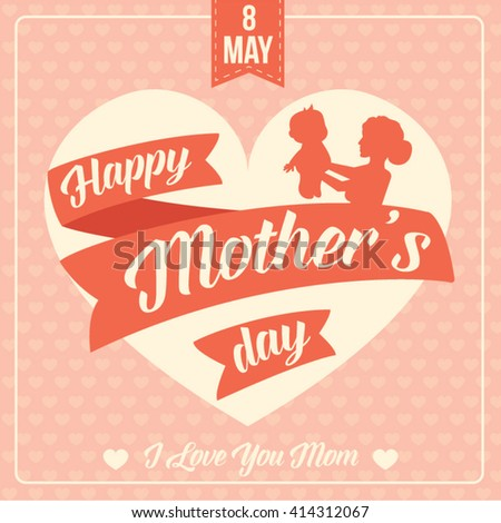 Happy Mother's Day. Typography Design. Vector Illustration - stock vector