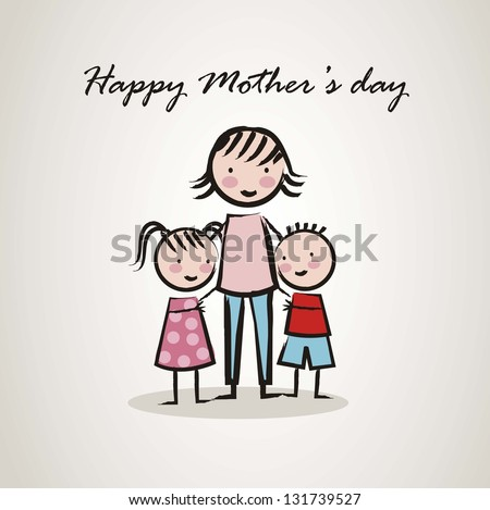 happy mothers day card with cartoons. vector illustration - stock vector