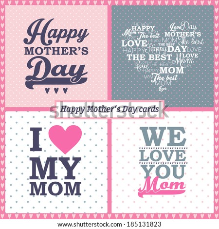 Happy mothers day cards on different background. vintage retro type font. set of unusual design. - stock vector