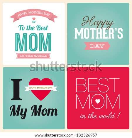 Happy mothers day cards vintage retro type font - stock vector