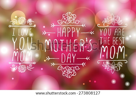 Happy mothers day handlettering elements with flowers on white background. Happy mothers day greeting cards. Text - Happy mother's day - stock vector