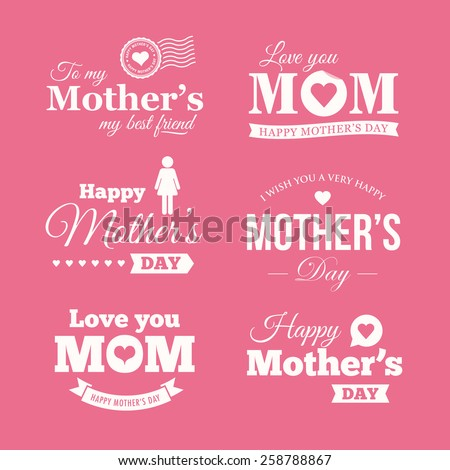 Happy mothers day. Set of badges, logo, labels, signs and symbols - stock vector