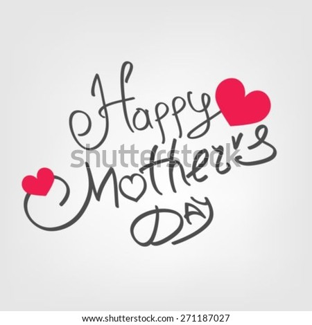 Happy Mothers's Day with hearts - stock vector