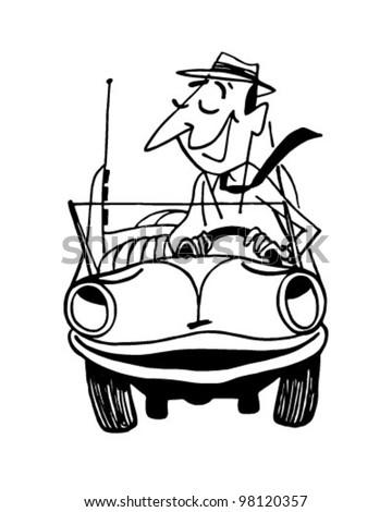 Happy Motorist 2 - Retro Clipart Illustration - stock vector