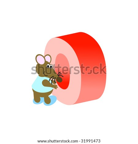 Happy Mouse with upper case letter O - stock vector