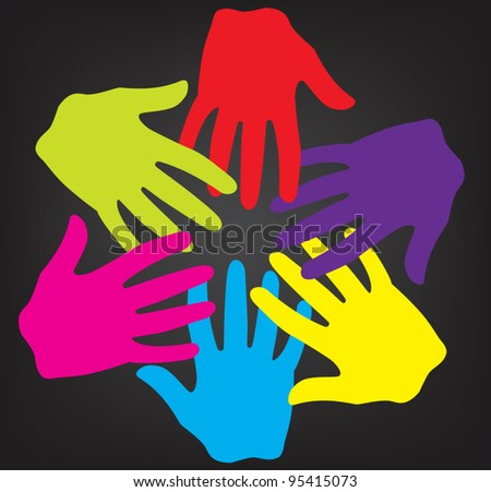 Happy multicultural ready to help hands - vector - stock vector
