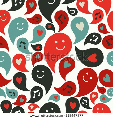 Happy musical smiley faces in speech bubbles seamless pattern background. Vector file layered for easy manipulation and custom coloring - stock vector